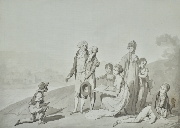 Oberkampf et sa famille, vers 1803, dessin de Louis-Léopold Boilly